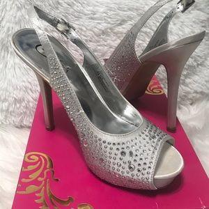 Candie's rhinestone sling back heels